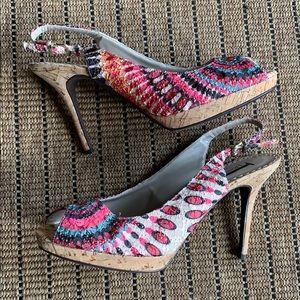 J. Renee Cork Embroidered Peep Toe Sling Backs 10